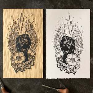 Woodcut supporting The Bail Project and The Afiya Center
