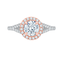 Load image into Gallery viewer, CA0033E-37WP Bridal Jewelry Carizza White Gold Rose Gold Yellow Gold Round Diamond Halo Engagement Rings