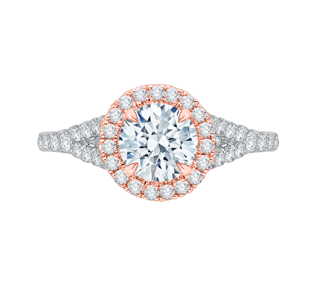 CA0033E-37WP Bridal Jewelry Carizza White Gold Rose Gold Yellow Gold Round Diamond Halo Engagement Rings