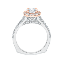 Load image into Gallery viewer, 14K Two Tone Gold Round Diamond Halo Engagement Ring with Split Shank (Semi Mount)