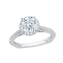 Load image into Gallery viewer, 14K White Gold Round Cut Diamond Halo Engagement Ring with Euro Shank (Semi Mount)