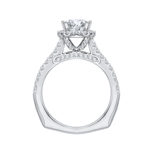 14K White Gold Round Cut Diamond Halo Engagement Ring with Euro Shank (Semi Mount)