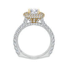 Load image into Gallery viewer, 14K Two Tone Gold Round Diamond Double Halo Engagement Ring (Semi Mount)