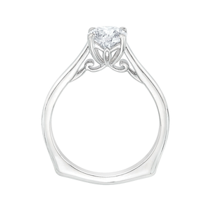 14K White Gold Round Cut Diamond Solitaire Engagement Ring (Semi Mount)