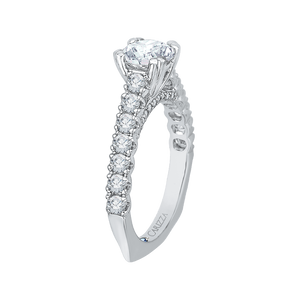 14K White Gold Euro Shank Round Diamond Cathedral Style Engagement Ring (Semi Mount)
