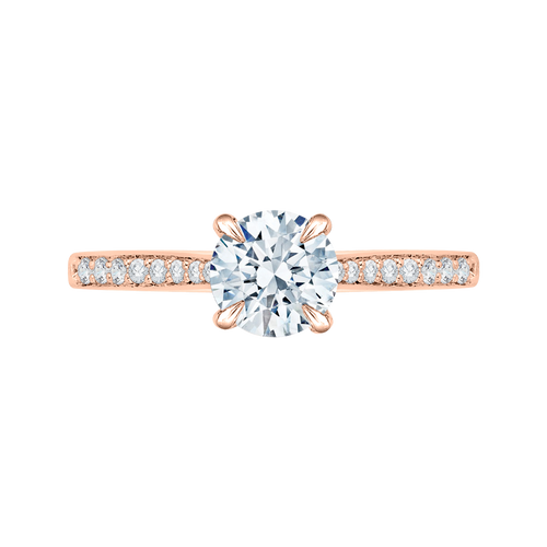 CA0040E-37P Bridal Jewelry Carizza Rose Gold Round Diamond Solitaire Engagement Rings