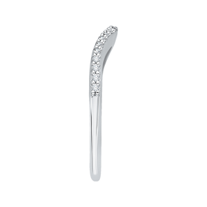14K White Gold Diamond Half Eternity Euro shank Wedding Band