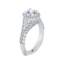 Load image into Gallery viewer, 14K White Gold Round Diamond Halo Engagement Ring with Split Shank (Semi Mount)