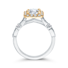 Load image into Gallery viewer, 14K Two Tone Gold Round Diamond Halo Vintage Engagement Ring (Semi Mount)