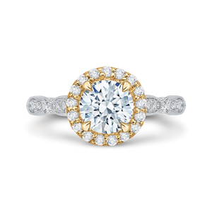 CA0042E-37WY Bridal Jewelry Carizza White Gold Rose Gold Yellow Gold Vintage Round Diamond Halo Engagement Rings