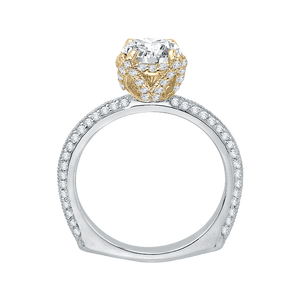 14K Two Tone Gold Euro Shank Round Diamond Engagement Ring (Semi Mount)