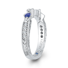 Load image into Gallery viewer, 14K White Gold Round Diamond Wedding Band with Sapphire