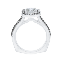 Load image into Gallery viewer, 14K White Gold with Black Rhodium Tips Round Diamond Halo Vintage Engagement Ring (Semi Mount)