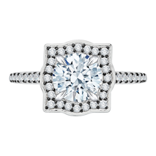 Load image into Gallery viewer, CA0047E-37WBK Bridal Jewelry Carizza White Gold Vintage Round Diamond Halo Engagement Rings