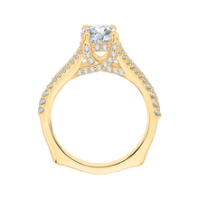 Load image into Gallery viewer, 14K Yellow Gold Round Diamond Engagement Ring with Split Shank (Semi Mount)