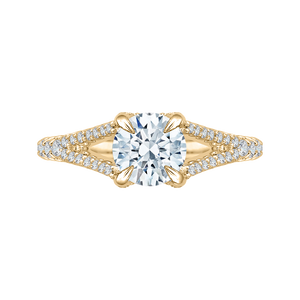 CA0048E-37 Bridal Jewelry Carizza Yellow Gold Round Diamond Engagement Rings