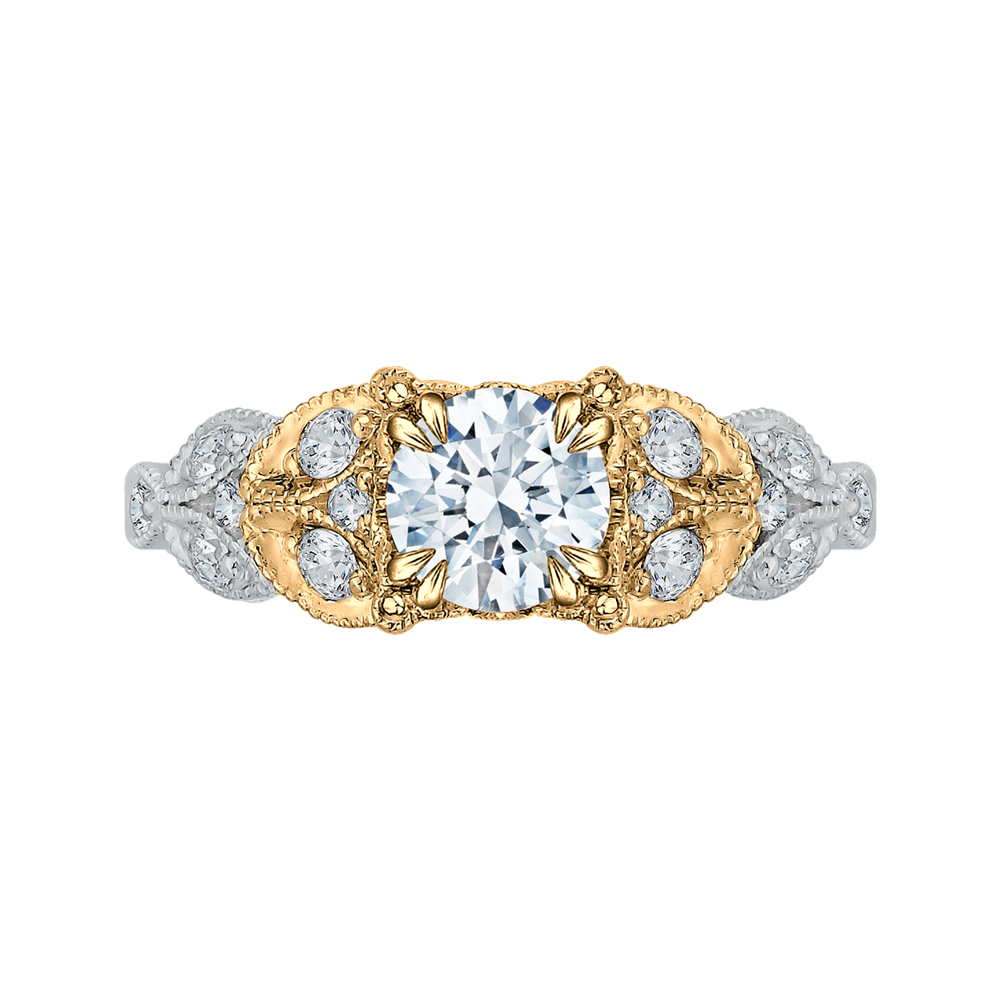 CA0049E-37WY Bridal Jewelry Carizza White Gold Rose Gold Yellow Gold Round Diamond Engagement Rings