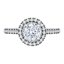 Load image into Gallery viewer, CA0050E-37WBK Bridal Jewelry Carizza White Gold Round Diamond Halo Engagement Rings