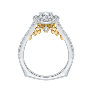 14K Two Tone Gold Round Cut Diamond Halo Engagement Ring (Semi Mount)