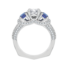 Load image into Gallery viewer, 14K White Gold Euro Shank Round Diamond and Sapphire Three Stone Engagement Ring (Semi Mount)