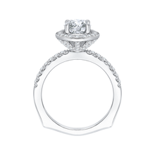 Load image into Gallery viewer, 14K White Gold Round Diamond Halo Engagement Ring with Euro Shank (Semi Mount)