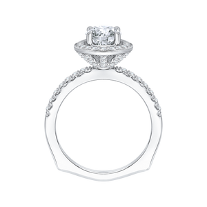 14K White Gold Round Diamond Halo Engagement Ring with Euro Shank (Semi Mount)