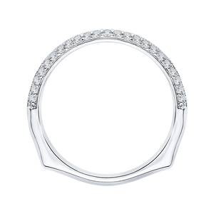 14K White Gold Half Eternity Diamond Wedding Band with Euro Shank
