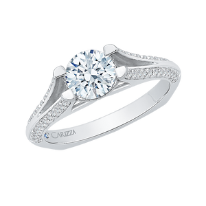 14K White Gold Round Diamond Engagement Ring with Split Shank (Semi Mount)