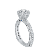 Load image into Gallery viewer, 14K White Gold Round Diamond Engagement Ring with Euro Shank (Semi Mount)