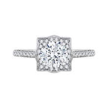 Load image into Gallery viewer, CA0091E-37W Bridal Jewelry Carizza White Gold Round Diamond Halo Engagement Rings