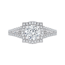 Load image into Gallery viewer, CA0100E-37W Bridal Jewelry Carizza White Gold Round Diamond Halo Engagement Rings