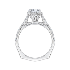 14K White Gold Round Diamond Floral Engagement Ring with Euro Shank (Semi Mount)