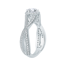 Load image into Gallery viewer, 14K White Gold Split Shank Round Diamond Engagement Ring (Semi Mount)