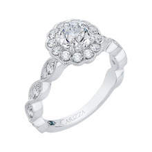 Load image into Gallery viewer, 14K White Gold Round Diamond Halo Engagement Ring (Semi Mount)