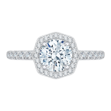 Load image into Gallery viewer, CA0114E-37W Bridal Jewelry Carizza White Gold Round Diamond Halo Engagement Rings