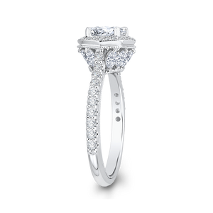 14K White Gold Round Cut Diamond Octagon Shape Halo Engagement Ring (Semi Mount)