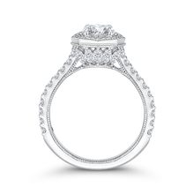 Load image into Gallery viewer, 14K White Gold Round Cut Diamond Octagon Shape Halo Engagement Ring (Semi Mount)