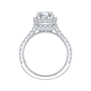 14K White Gold Round Cut Diamond Halo Engagement Ring (Semi Mount)