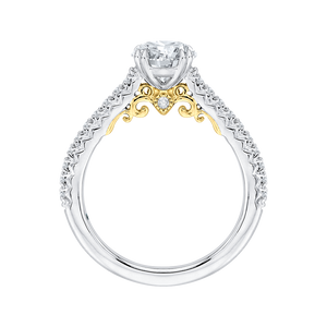 Round Cut Diamond Engagement Ring In 14K Two Tone Gold (Semi Mount)