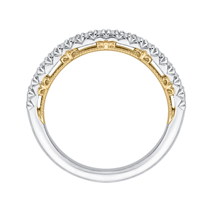 Round Diamond Half Eternity Wedding Band In 14K Two Tone Gold