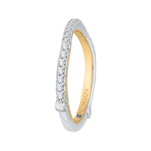 Load image into Gallery viewer, 14K Two Tone Gold Round Diamond Wedding Band