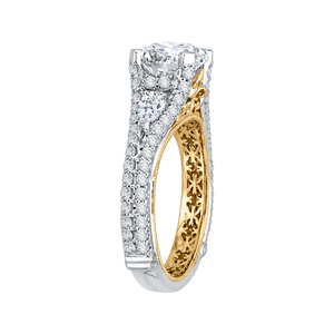 14K Two Tone Gold Round Diamond Engagement Ring with Split Shank (Semi Mount)