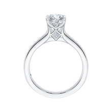 Load image into Gallery viewer, 14K White Gold Cut Round Diamond Cathedral Style Engagement Ring (Semi Mount)