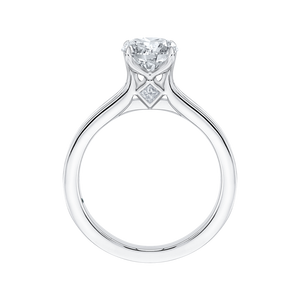 14K White Gold Cut Round Diamond Cathedral Style Engagement Ring (Semi Mount)