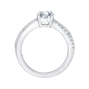Round Diamond Engagement Ring with Split Shank In 14K White Gold (Semi Mount)