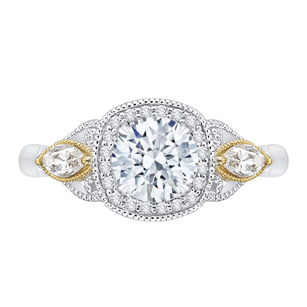 CA0147E-37WY Bridal Jewelry Carizza White Gold Rose Gold Yellow Gold Round Diamond Halo Engagement Rings