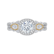 Load image into Gallery viewer, CA0148EH-37WY Bridal Jewelry Carizza White Gold Rose Gold Yellow Gold Round Diamond Halo Engagement Rings