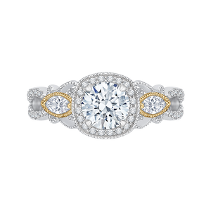 CA0148EH-37WY Bridal Jewelry Carizza White Gold Rose Gold Yellow Gold Round Diamond Halo Engagement Rings