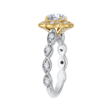 Load image into Gallery viewer, 14K Two Tone Gold Round Cut Diamond Floral Halo Engagement Ring (Semi Mount)