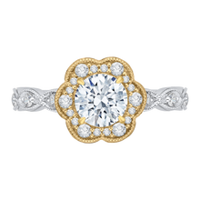 Load image into Gallery viewer, CA0150EQ-37WY Bridal Jewelry Carizza White Gold Rose Gold Yellow Gold Round Diamond Halo Engagement Rings